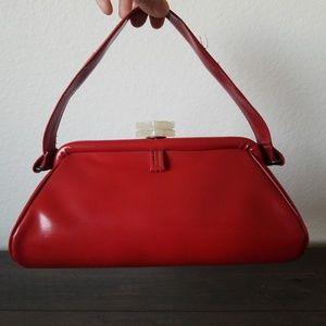 Vintage 1950's 60's red patent leather purse
